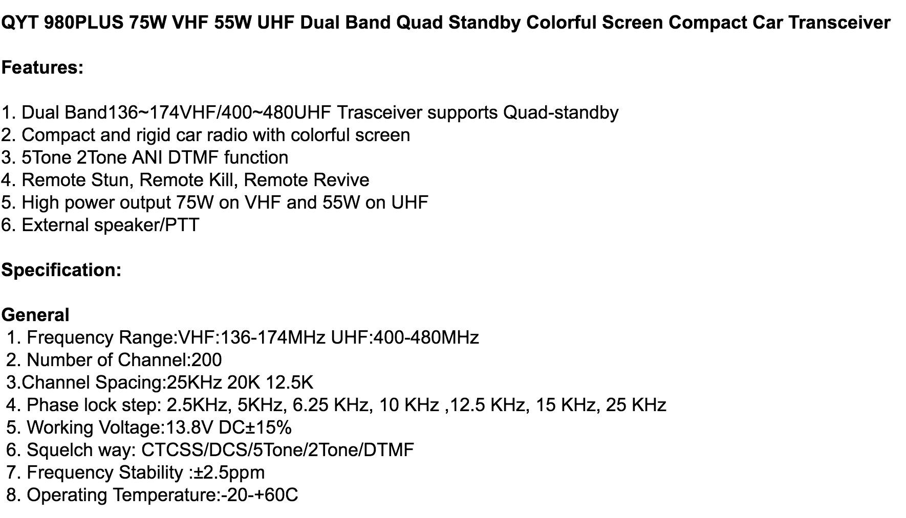QYT 980 Plus (75w VHF/55w UHF) | Simonthewizard